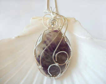 Amethyst Wire Wrapped Pendant, Handmade Jewelry, Wire Work
