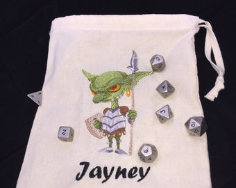 Personalised Dice Bag, Choose your picture, add your name, Natural, Tardis, Unicorn, Zombie, Kitty, Vampire, Goblin, Cthulhu, dragons, fairy