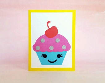 cupcake diy card making kit - makes four folded birthday, mother's day, congratulations, thank you cards