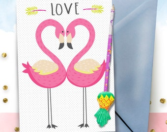 LOVE Flamingos A5 greeting card
