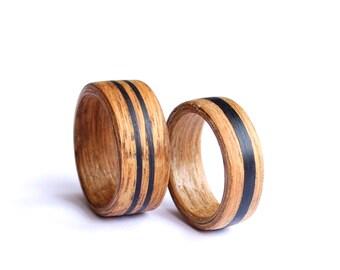 Wedding Ring Set, Mens Wedding Band, Women Wedding Ring, Wood Band With Ebony Inlay