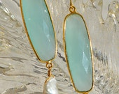 Faceted Aqua Blue Green Chalcedony Quartz Crystal Freshwater Fireball Pearl Drop Earrings