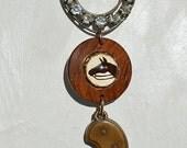 Victorian Rhinestone Horse shoe Intaglio Horse Button Revolver Pocket Knife Western Cowboy Necklace