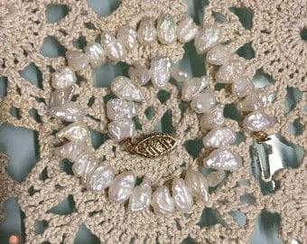 Fresh Water Pearl & 14K Gold Bracelet - VINTAGE