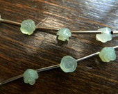 Beautiful  Hand carved mint green seafoam chalcedony gemstone carved roses beads