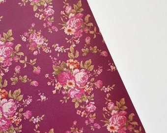 SALE 8x11 Small Purple Floral Bouquet on Plum Faux Leather Fabric Sheet
