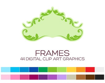 Wedding Frame Clipart Digital Frames Digital Labels Frames Vintage Clipart Flourish Clipart Valentine Clipart Damask Clipart Retro - A70042