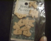 1980s Vintage New Unfinished Wooden Holiday Design Buttons (set of 8)
