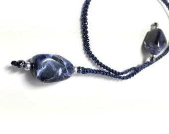Dark Blue Sodalite Nugget Macrame Bookmark