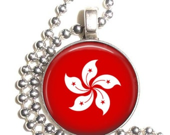 Hong Kong Flag, Altered Art Pendant, Earrings and Keychain, Round Photo Silver and Resin Charm Jewelry, Flag Earrings, Flag Key Fob
