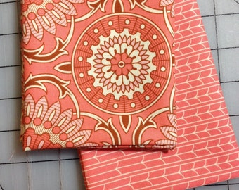 Joel Dewberry Bungalow - Fat Quarter Set of 2  - Doily and Empress in Coral