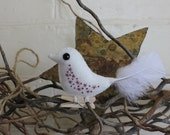 Christmas bird ornament - hand embroidered white felt with burgandy embroidery