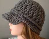 Unisex Gray Newsboy Hat, Men's snowboard hat Womans Winter Hat, Teen Crochet Hat, Hat with Visor, Hat with Brim, Newsboy Cap, Brimmed Beanie