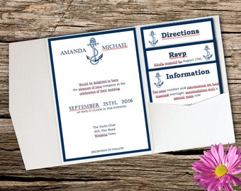 Nautical wedding - DIY pocket invitation template - INSTANT DOWNLOAD - editable text - pocket invite suite PK2