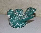 Mexican Hand Painted Ceramic Candle Holder - Bird - Vintage - Green and White - Folk Art - Collectibles - Souvenir- Rustic - Mexican Pottery