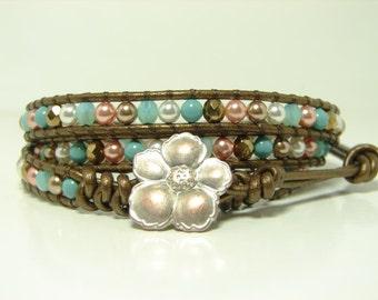 Multicolor Pearl Beaded Leather Wrap Bracelet, Triple Wrap Bracelet, Swarovski Pearl Wrap Bracelet, Jade  Bronze Leather Wrap