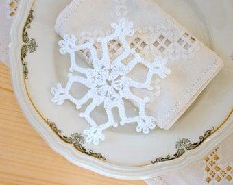 Handmade white snowflakes, Christmas snowflake ornaments, crochet lace snowflakes, Christmas tree ornament