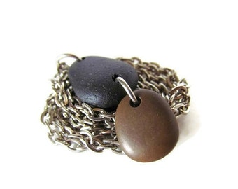 ON SALE Black and Brown Natural Lake Michigan Beach Stone Necklace, 24 Inch Stainless Steel Link Chain, Two Stone Pendant, CHOCOLATE Drop