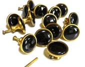 "Vintage Brass and Black Ceramic Pull Handle/Knobs 1 1/4"", Set of 15, Art Nouveau,"