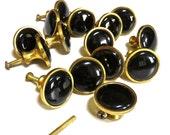 "Vintage Brass and Black Ceramic Pull Handle/Knobs 1 1/4"", Set of 15, Art Nouveau,"