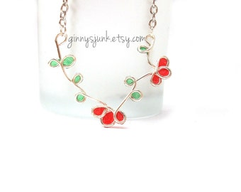 Red Flower Necklace - Wire and Paper - 17 inch necklace