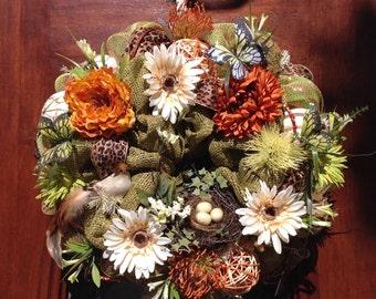 Spring/Summer Burlap and Mesh Decorative Wreath