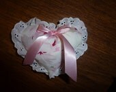 Vintage Chenille and Rachel Ashwell Fabric Mini Heart With Eyelet Trim and Lavender Scented