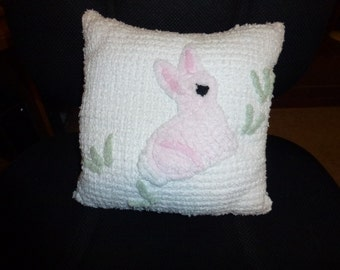 Vintage Chenille Bunny Pillow