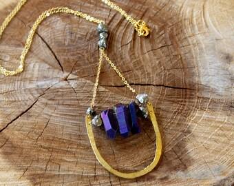 Metallic purple-blue quartz with pyrite and hammered brass