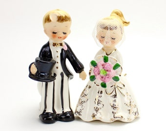 Vintage Bride and Groom Candleholders, Holt Howard Bride and Groom, Taper Holders, Wedding Decor, Cake Topper,  Unique Topper, Epsteam