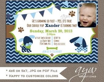 Puppy Dog 2nd Birthday Party Invitation Chevron Printable - Puppy Dog - Boy Invitation - Blue Green Brown - Chevron Pawprints - Photo Card