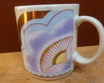 Laurel Burch art mug Plum Blossom signed Pastel colors