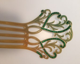 ART DECO Hair Comb Green RHINESTONES Hair Comb 1920s Vintage Celluloid Hair Comb Marbled Green Acccents