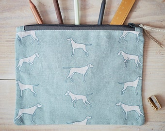 Pointing Dog Fabric Purse - Vizsla Gift - Weimaraner Gift - Pointer Gift - Hungarian Vizsla - Zipped Purse - Linen Cosmetic Bag - Travel Bag