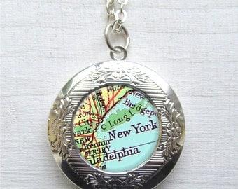 New York Map Necklace, Photo Locket, Travel Jewelry, Map Jewelry