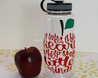 It takes a big heart to shape little minds//teacher appreciation gift// water bottle//water intake meter// drinking meter