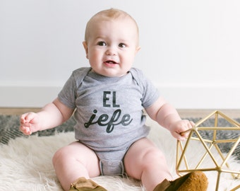 El Jefe Funny Baby Onesie • Unique Typographic Spanish Outfit for Baby • El Jefe Gift for Baby, Niece, or Nephew • FREE SHIPPING