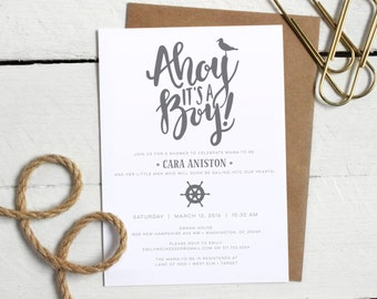 Printable Nautical Baby Boy Shower Invitation - Custom Baby Shower Invite - Modern Calligraphy Baby Shower Invitation - Neutral Gray