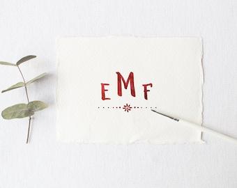 Monogram  - Red Watercolor Flower - Couples Initials Simple Wedding Logo