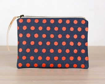 Copper spots on charcoal - flat  pouch - screen printed and handmade