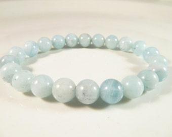 Aquamarine Stretch Bracelet Smooth Round 8mm Blue Gemstone Bead Bracelet