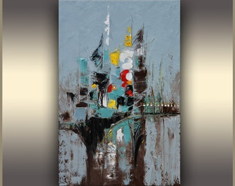 Blue Abstract Painting Oil Painting Art Painting Oil ORIGINAL Abstract Art Oil Painting Original Oil Painting Abstract Teal Modern Urban Art