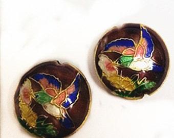 2pc 19x7.5 flat round handmade bird Cloisonne Beads-8568B