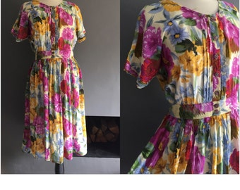 40s style semi sheer floral tea dress