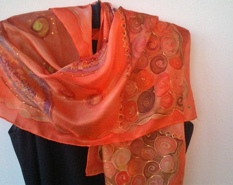 Orange Hand Painted Fashion Silk Scarf for Ladies.  Orange, Red, Yellow, Brown. Foulard 14 x 51 in Scarf OOAK Designer Scarf by Artist. ETSY
