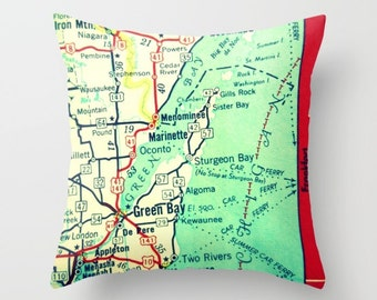 Custom Wisconsin Pillow Cover, Wisconsin Map Pillow Green Bay pillow Wisconsin Home Wisconsin Gift, Custom Any City Map WI Decorative Pillow