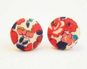 Liberty of London Betsy Ann Red Fabric Stud Earrings