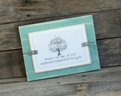 4x6 Picture Frame - Distressed Wood - Holds a 4x6 Photo - Beach Teal and White