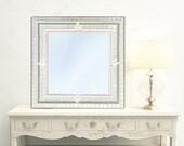 White Mosaic Mirror, Wall Art For Nursery, Shabby Chic Decorative Mirror, Square Wall Mirror