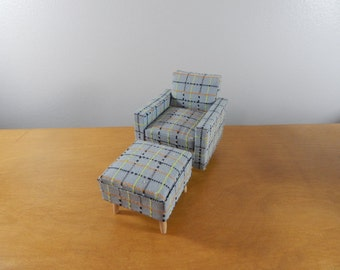 Miniature 1/12 Scale  Modern Chair and Ottoman